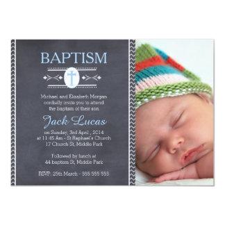 Boys photo Chalkboard Baptism Invitation 11 Cm X 16 Cm Invitation Card