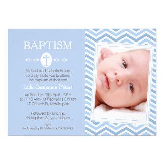 Boys Photo Chevron Baptism Invitation
