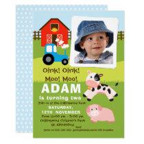 Boys Photo Farmyard Birthday Invitation