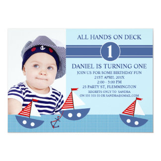 1st Birthday Nautical Invitations & Announcements | Zazzle