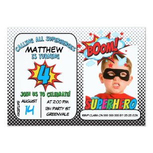 Boys Photo Superhero 4th Birthday Invitation
