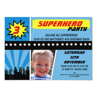 Boys Photo Superhero Birthday Invitation