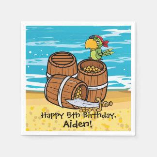 Boys Pirate Ship Parrot Birthday Party Treasure Napkin