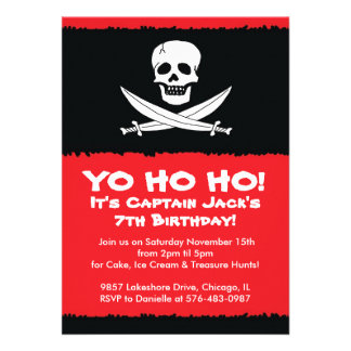Boys Pirate Themed Birthday Party Invitation