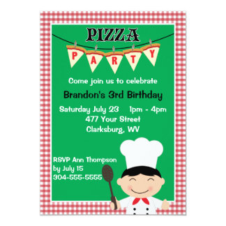 Boy's Pizza Party Card