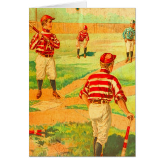 Boys Play Baseball Game Vintage Art Blank Inside Cards