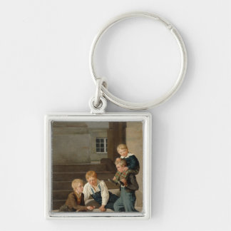 Boys Playing Dice in Front of Christiansborg Keychain