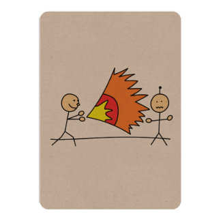 Boys Playing Fighting Effects Fun Games 5x7 Paper Invitation Card