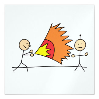 Boys Playing Fighting Effects Fun Games 5.25x5.25 Square Paper Invitation Card