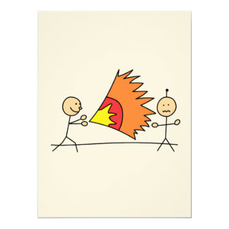 Boys Playing Fighting Effects Fun Games 6.5x8.75 Paper Invitation Card