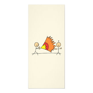 Boys Playing Fighting Effects Fun Games 4x9.25 Paper Invitation Card