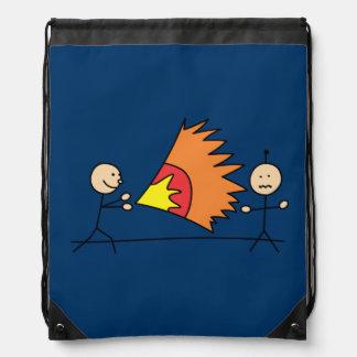 Boys Playing Fighting Effects Fun Games Drawstring Bag