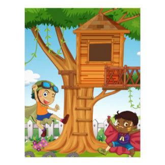Boys playing in the garden letterhead