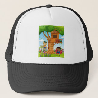 Boys playing in the garden trucker hat
