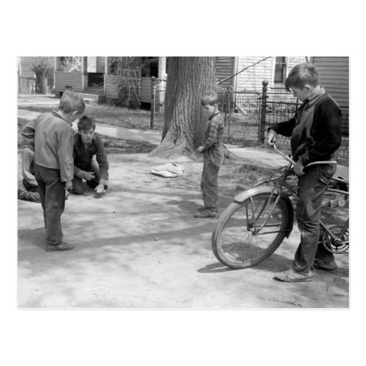 Boys Playing Marbles, Woodbine, Iowa, 1940 Postcard