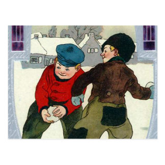 """Boys Playing Snowballs"" Postcard"
