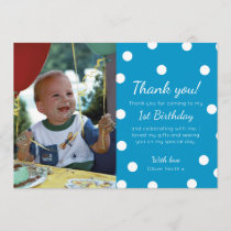 Boys polka dotted birthday thank you card