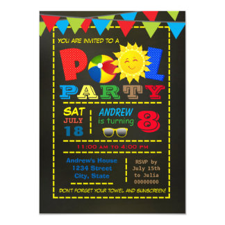 Boys Pool Birthday Party Card