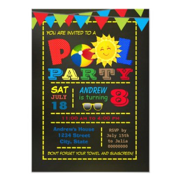 InvitationCentral Boys Pool Birthday Party Card
