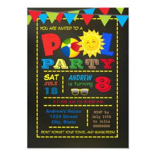 Boys Pool Party Invitations Zazzle