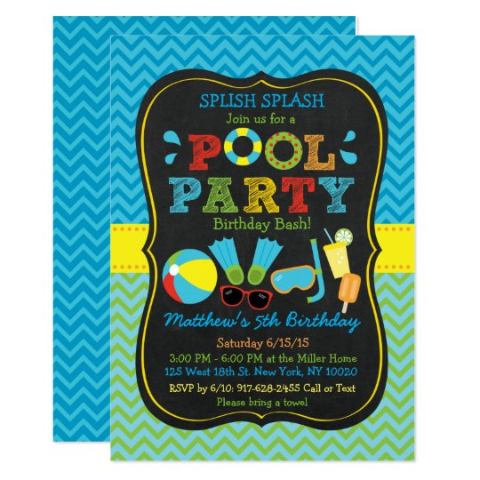 Boys Pool Party 1st Birthday Invitation