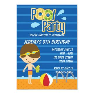 Boys Pool Party Birthday 5x7 Paper Invitation Card