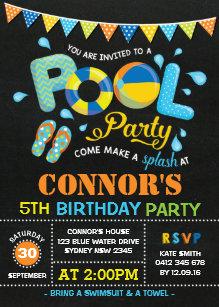 Boy birthday invitations zazzle boys pool party birthday chalkboard invitation filmwisefo