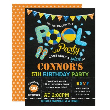 Beach Themed Boys Pool Party Birthday Chalkboard Invitation
