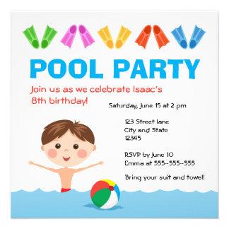Boys pool party birthday invitation