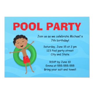 Boys pool party birthday invite african boy