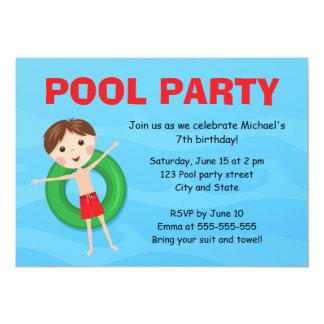 Boys pool party birthday invites boy on inflatable