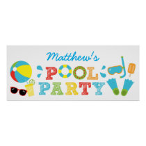 Boys Pool Party Birthday Poster