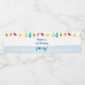 Boys Pool Party Birthday Water Bottle Label