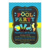 Boys Pool Party Chalkboard Birthday Invitations