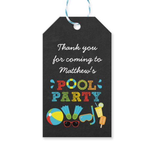 Boys Pool Party Chalkboard Favor Tags