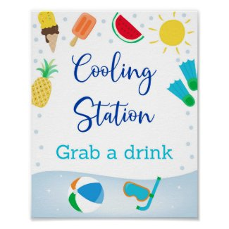 Boys Pool Party Cooling Station Birthday Sign