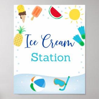 Boys Pool Party Ice Cream Station Birthday Sign
