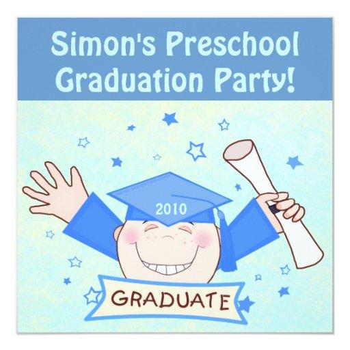 Boys Preschool / Kindergarten Graduation Party 5.25x5.25 Square Paper Invitation Card