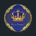 """Boys Prince Baby Shower Paper Plates<br><div class=""""desc"""">Prince baby shower paper plates with fancy royal blue and gold crown and blue it&#39;s a prince banner on a rich blue and gold swirl background. You can customize with the text of your choice in the font style you prefer. You can move the crown as needed.</div>"""