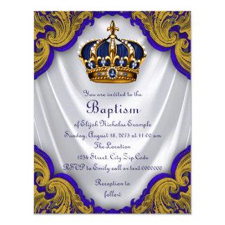 Boys Prince Baptism Royal Blue Gold Swirl Satin Card