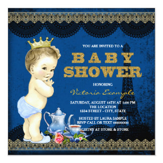 "Boys Prince Paris Tea Party Baby Shower Royal Blue 5.25"" Square Invitation Card"