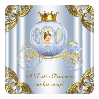 Boys Prince Royal Carriage Prince Baby Shower Card