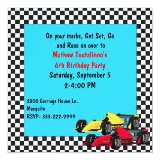 Boy's Race Cars Birthday Party Invitation