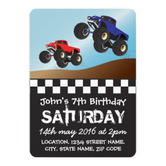 Boys Racing Monster Trucks Personalized Birthday Card