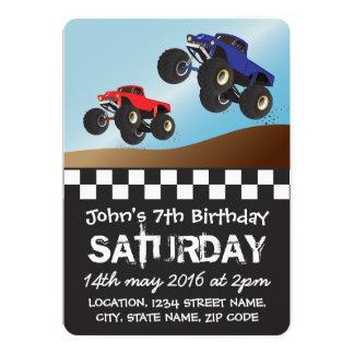 Boys Racing Monster Trucks Personalized Birthday 5x7 Paper Invitation Card