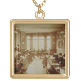 Boy's Recreation Room at the Deaf and Dumb Institu Square Pendant Necklace