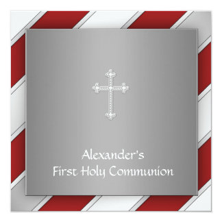 Boys Red and Silver First Communion Card