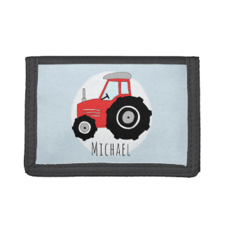 Boy's Red Farm Doodle Tractor with Name Tri-fold Wallet