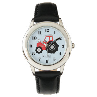 Boy's Red Farm Tractor Kids with Name Watch