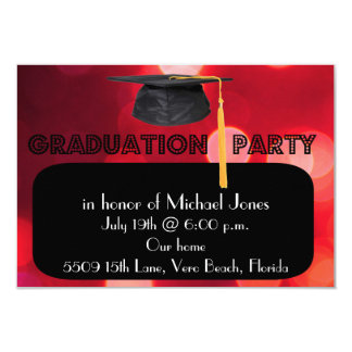 "Boys Red Graduation Cap Party Invitation 3.5"" X 5"" Invitation Card"